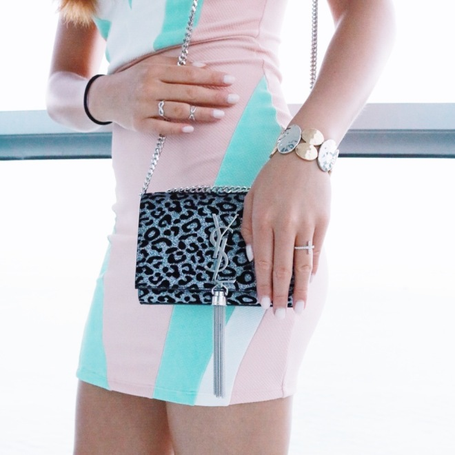 Saint Laurent Monogramme Small Glitter Leopard-Print Tassel Crossbody Bag
